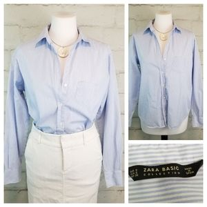 Zara Basic S Blue White Striped Button-Down Blouse